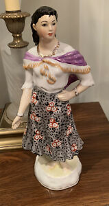 Russian-Antiques-Porcelain-Figurine-GYPSY-AZA-USSR-DULEVO-1954-year-10-5-Inches