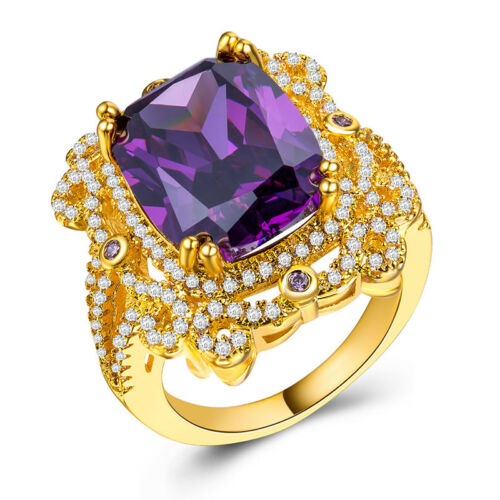 Gorgeous 4 Colors Gemstone 18k Yellow Gold Plated Women Wedding Ring Size 6-10