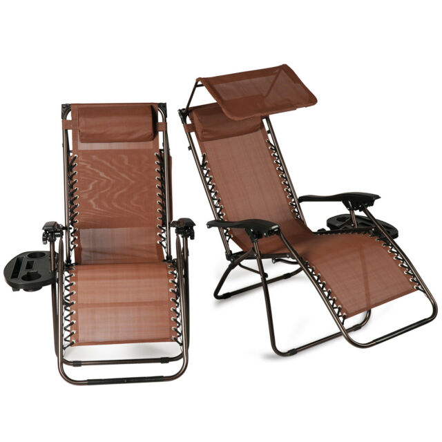 Superb 2 Pcs Zero Gravity Folding Lounge Beach Chairs W Canopy Gmtry Best Dining Table And Chair Ideas Images Gmtryco