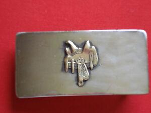 Nickel Silver Country Western Leather Saddle Vintage Belt Buckle