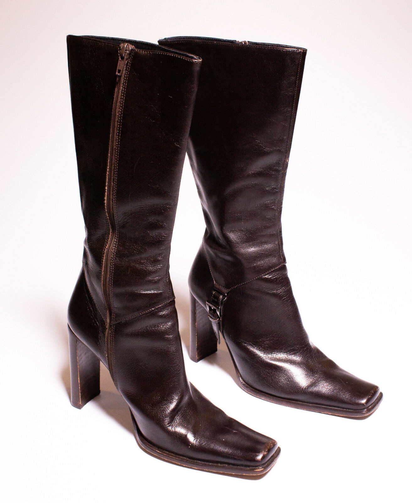 Vero Cuoio Leather Woman's Size 38.5 made in  High Boots Heels