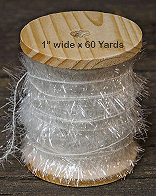 60 yards ~ Wispy Iridescent White Frayed Ribbon ~ Sparkle