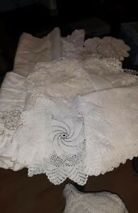 VINTAGE LOT of 20 Crocheted & Lace Doilies Toppers, White Cream Neutrals, VGUC