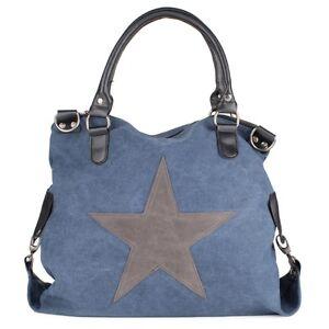 Tasche Groß Hand Henkel Schulter Vintage Shopper Star Stern Trend Damen Blau NEU