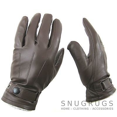 LUXURY MENS BROWN REAL LEATHER GLOVES WITH STUD CLASP & FLEECE LINING