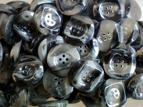 W523 Large 28mm 44L Grey Swirl Charcoal Light Opaque 4 Hole Chunky Coat Buttons