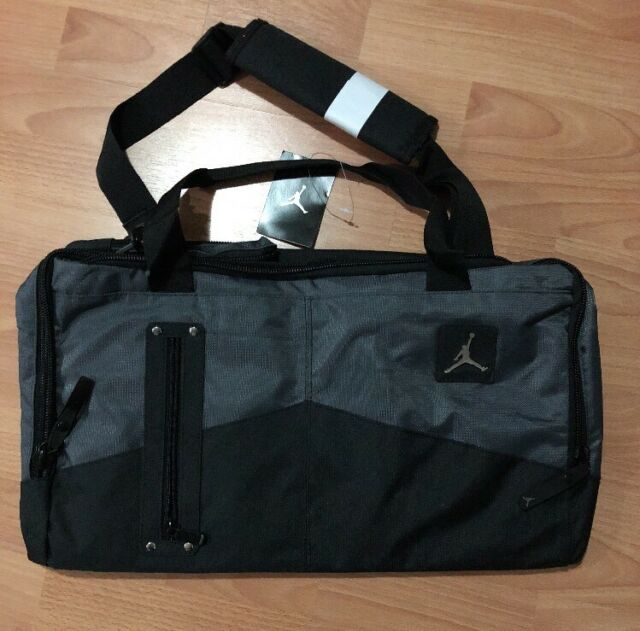 34929bcd01e1 Nike Air Jordan Duffle Gym Bag Tote Black Gray Silver Travel Jumpman Duffel