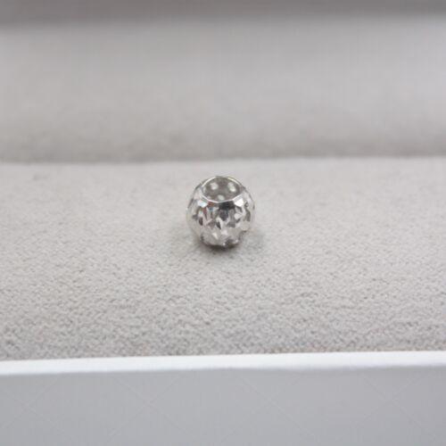 New Real 18K White Gold Pendant Lucky Bead Pendant 7mm //0.45g