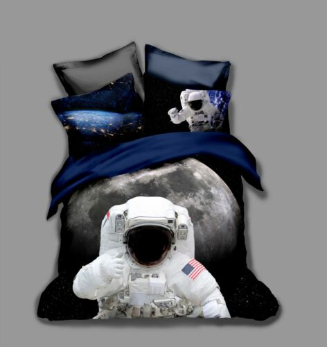 3D Astronaut Outer Space Kid Bedding Set Duvet Cover Pillowcase Comforter Cover