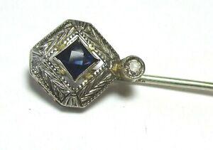 14K-White-Gold-Stick-Pin-w-Sapphire-and-Diamond-in-box-1-7-grams