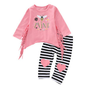 the best preview of buy popular Details about 2PCS Kids Baby Girl Outfits Clothes Tassel T-Shirt Tops  Dress+Pants Leggings Set