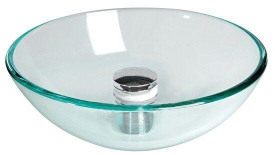 Spüle rund aus Glas Ø420mm inkl. Ablaufgarnitur aus verchromtem Messing - Stiefel