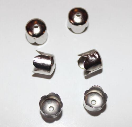 50x argent tulipe fleur fin//perles cônes-parfait pour tassel caps 6mmx6.5mm