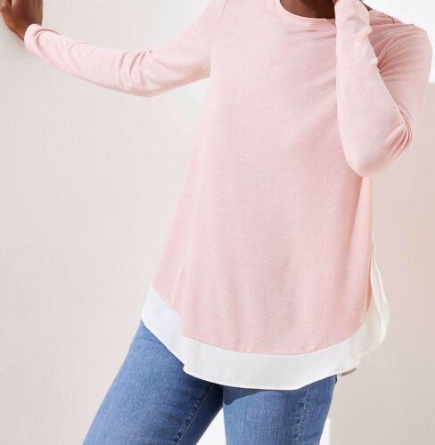 Medium Ann Taylor LOFT Mixed Media Shirttail Top Size Small Large NWT Rose