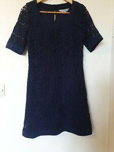 Crew-Clothing-Azul-Marino-Crochet-Floral-una-linea-vestido-Talla-8