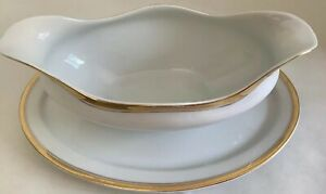 Vintage-Bavaria-H-amp-Co-Selb-Gravy-Boat-Gold-Rim-With-Attached-Plate-B-8-P-9