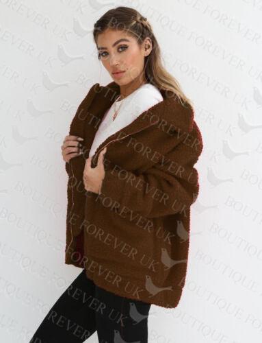 REGNO Unito Da Donna Teddy Bear Oversize Cappotto Donna Borg Zip in Pelliccia Sintetica Giacca Taglia 8-18