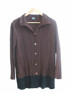 Size-XL-16-KATHLEEN-BERNEY-brown-pleated-long-sleeved-designer-top