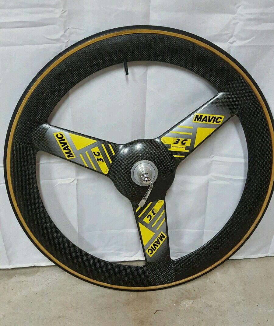 Mavic 3G carbon 650cm front wheel tubular tire included.