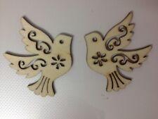 8 NATURAL WOODEN DOVE BIRD WEDDING CARD MAKING SCRAPBOOKING CRAFT EMBELLISHMENTS