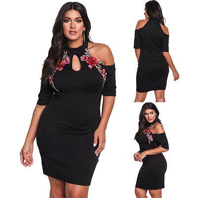 Plus Size Rose Applique Cold Shoulder Bodycon Mini Casual Evening Party Dress