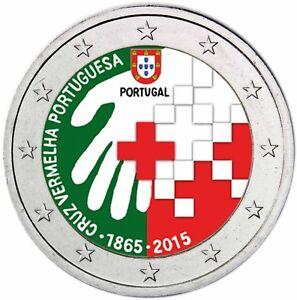 Portugal-2-Euro-2015-Rotes-Kreuz-Gedenkmuenze-bankfrisch-in-Farbe
