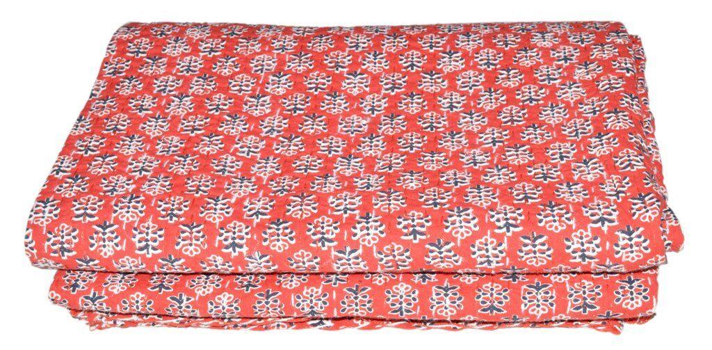 Indian Handmade QueenSize Kantha Quilt Gudari Polka Dots Bedspread Blanket Throw