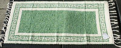 SchöN Teppich Möbel & Wohnen Badteppich Gewebt Mäander Natur/grün 80 X 65 Cm Teppich Waschbar Elegant Und Anmutig