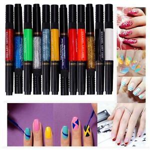 12 Color Two-way Nail Art Polish Brush Pen Set Drawing Painting ...