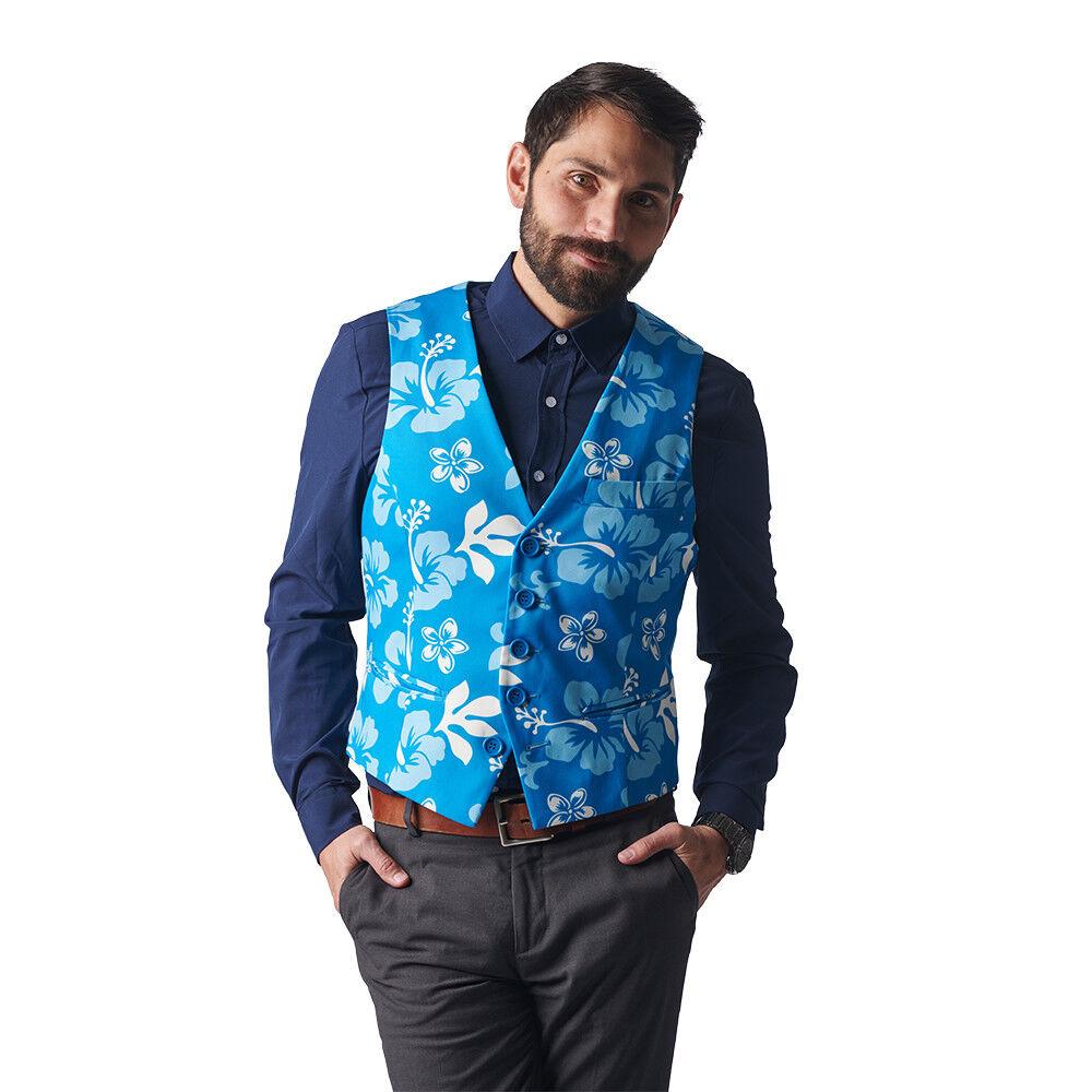 The Big Kahuna Blau Floral Print Hawaiian Vest