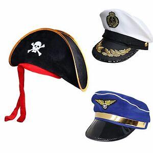 12614d910 Details about Kids Adults Fun Fancy Dress Pirate Air Pilot Navy Sailor  Marines Novelty Hat Cap