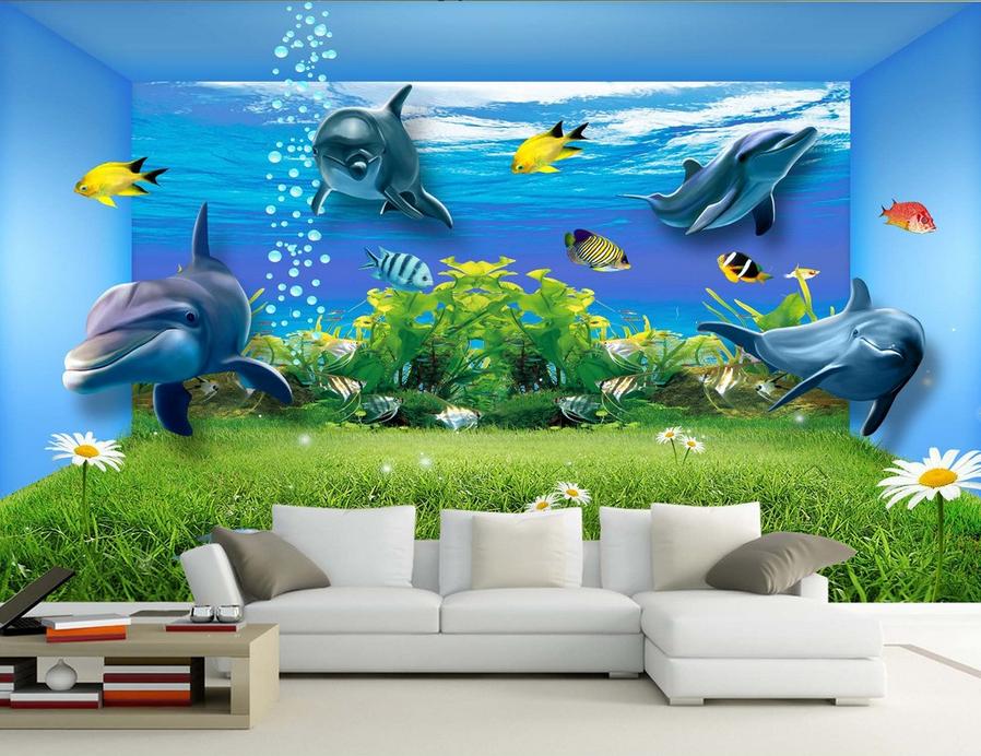 3D Rasen-Delfine 853 Tapete Wandgemälde Tapete Tapete Tapete Tapeten Bild Familie DE Summer | Feine Verarbeitung  16aeed
