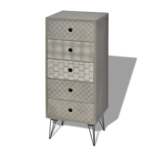 Image Is Loading Grey Chest Of Drawers Side Cabinet 5 Drawer