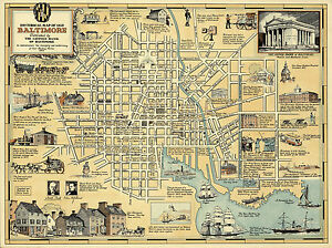 Pictorial-Historical-Map-of-Old-Baltimore-Art-Print-Poster-Wall-Decor-Antique