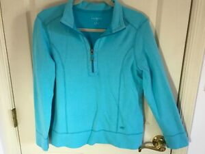 Woman-s-Talbots-size-large-blue-half-zip-long-sleeve-cotton-pullover-top