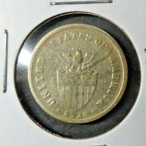 1920 - (M) US / Philippines 20 Twenty Centavos Coin Circulated - Manila KM# 170