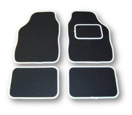 BLACK WITH WHITE TRIM FOR SUZUKI KIZASHI 2012 ON UNIVERSAL CAR FLOOR MATS
