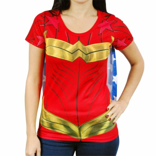 Haut Femme Officiel Wonder Woman Superhero Costume t shirt avec cape rouge DC comics
