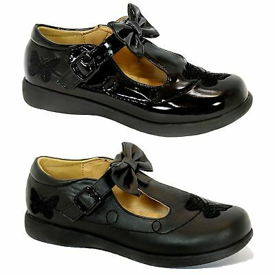 S357 - Girls Flat Mary Jane T-Bar Bow & Butterfly School Shoes - UK 10 - 2
