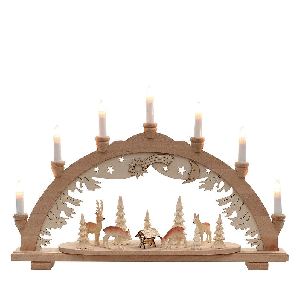 Massif Arc Arc Lumineux 3D Sculpté Animaux dans la Forêt 7 à Flammes 10347