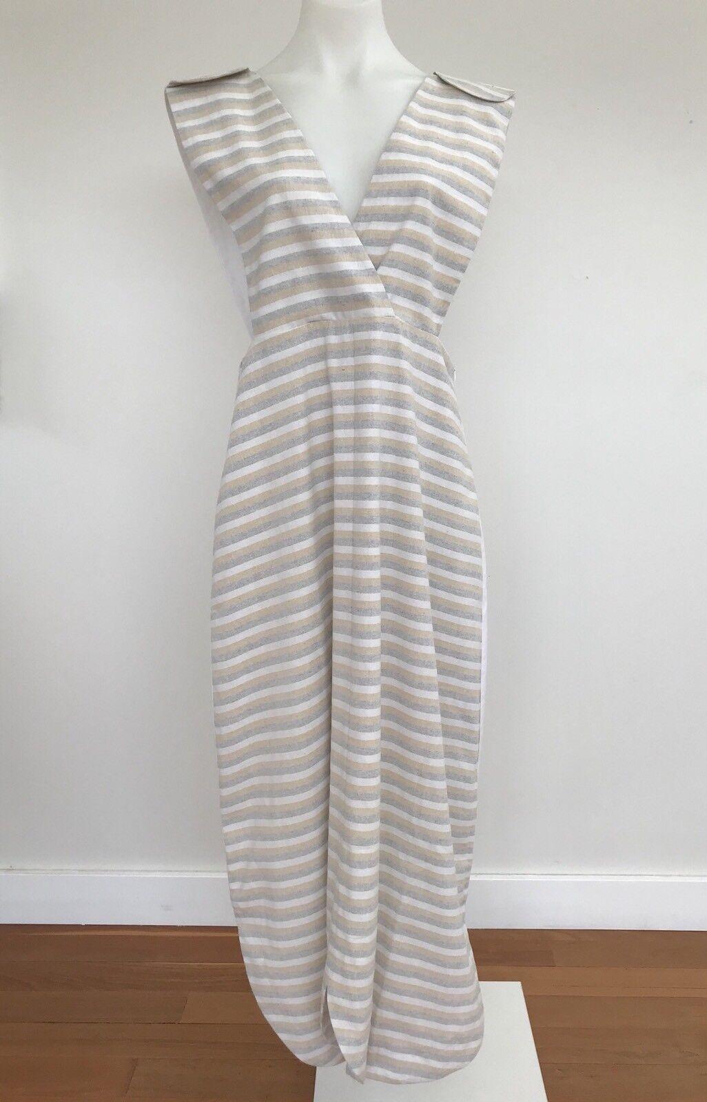 ALPHA60 ALPHA 60 Striped Cotton Pinafore Dungaree Dress Größe L