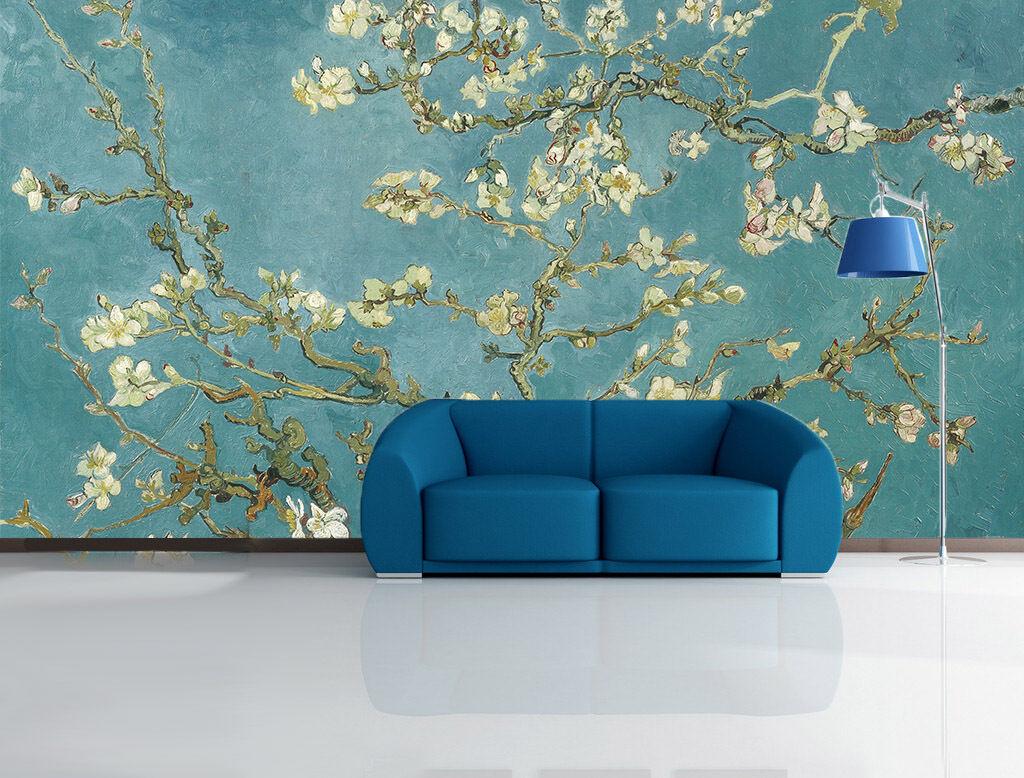 3D Zweige blühenden Blaumen 34 Fototapeten Wandbild Fototapete BildTapete Familie