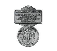 Visor Clip St. Michael Medal & Motorist Prayer Silver Pewter Vintage Catholic