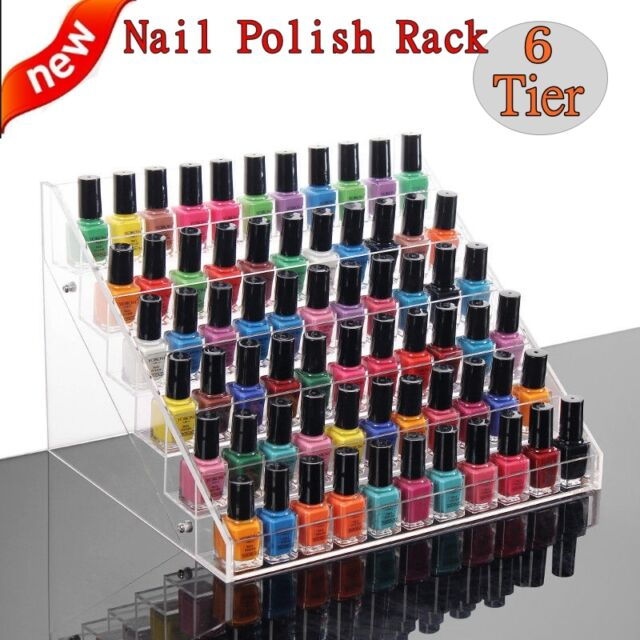 6 Tiers Clear Acrylic Nail Polish Cosmetic Display Stand Rack ...