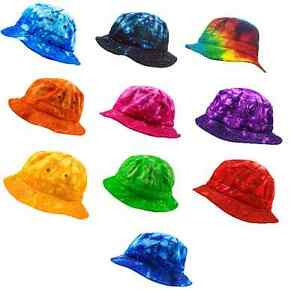 Tie-Dye-Bucket-Hats-100-Cotton-Multi-colors-One-Adult-Size