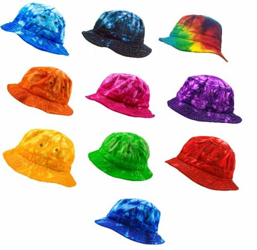 One Adult Size 100/% Cotton Multi-colors Tie Dye Bucket Hats