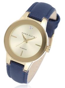 Anne klein womens chloe diamond dial leather strap watch navy ebay for Anne klein leather strap