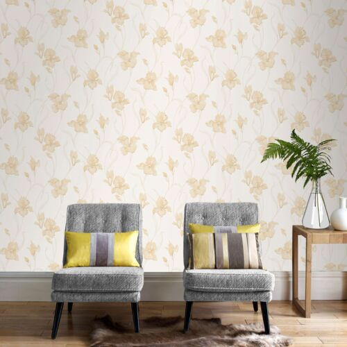 Boutique Iris Embossed Floral Natural Wallpaper Was £24