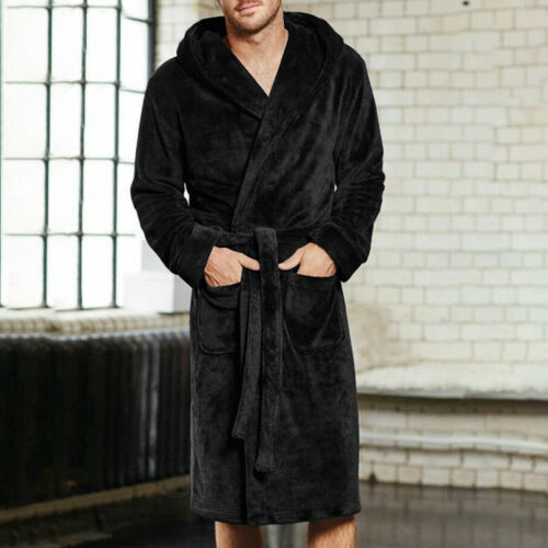 Men S-5XL Coral Velvet Dressing Gown Robe Bathrobe Nightgown Bath Robe Bathrobe