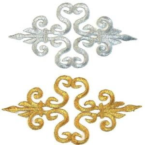 Gold Applique Iron On Embroidered #9 Aust Seller Tutu Dance Stage Costume Trim
